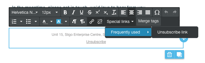 unsubscribe link in email